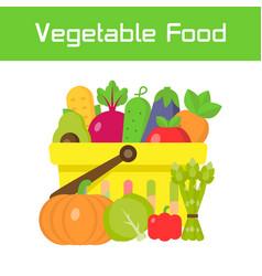 shopping basket full vegetables food in flat vector image