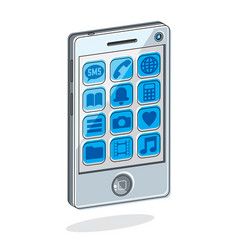 Smartphone with options cell phone isolated on vector