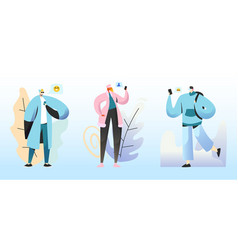 smm concept young people characters chatting in vector image