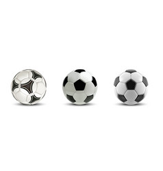 soccer ball set tree realistic soccer vector image vector image