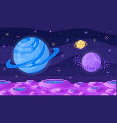 Space planet in pixel art pixelated landscape vector