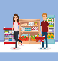 Supermarket shelvings with people buying vector
