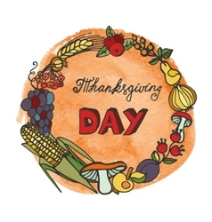 Thanksgiving dayDoodle harvest wreathwatercolor vector image