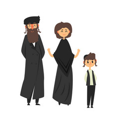 Traditional jewish family with son vector
