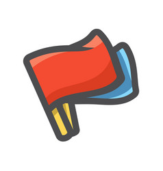 two referee flags icon cartoon vector image