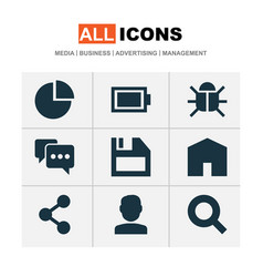 user icons set with battery share user and other vector image