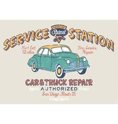 Vintage gasoline service station vector