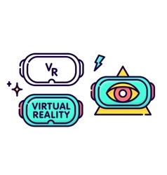 Virtual reality glasses headset gadget logo vector image