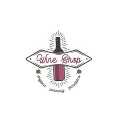 wine shop logo template concept wine bottle leaf vector image