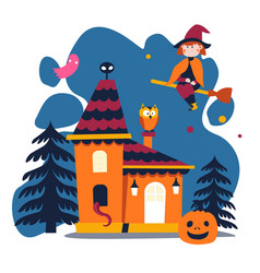 witch on broomstick and pumpkin house in forest vector image