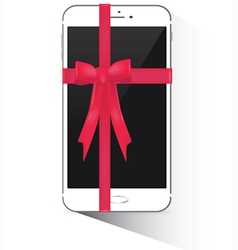Wrapped smartphone with red ribbon vector image