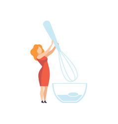 Young woman standing with whisk and bowl faceless vector