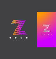 Z letter logo technology connected dots letter vector