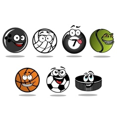 Cartoon hockey puck and sporting balls mascots vector image