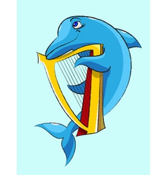 Dolphin harpist vector image vector image