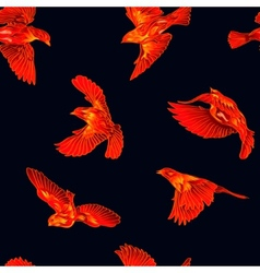 Fire birds seamless pattern vector image