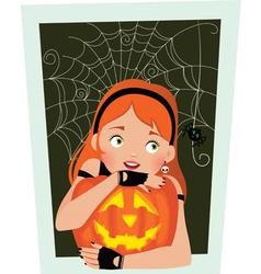 Girl with pumpkin Halloween vector image vector image