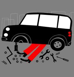mechanic and broken car vector image vector image