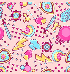 Seamless pattern with cartoon fantasy objects vector