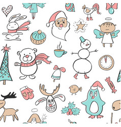 seamless pattern with cute penguinreindeerbear vector image