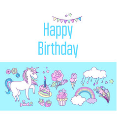 unicorn holiday card with cake sweets flower vector image vector image