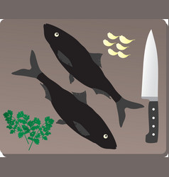 Delicious fresh fish on a wooden board vector image vector image