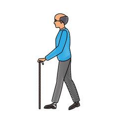 drawing elderly man walking stick cane vector image