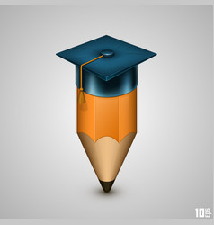 graduate hat and pencil vector image vector image