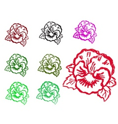 grunge flower stamps vector image vector image
