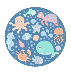 ocean set with cute sea animals on a round card vector image