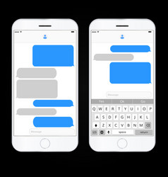realistic mobile phone with messaging interface vector image vector image