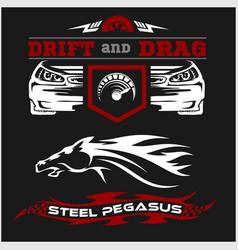 set of sport car racing logo emblems and badges vector image