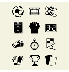 Soccer football icon set in flat design style vector image vector image