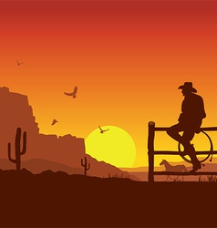 American Cowboy on wild west sunset landscape in vector image