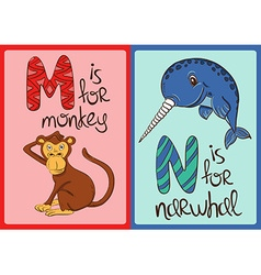 Children Alphabet with Funny Animals Monkey and vector image vector image