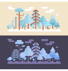 Flat forest scene with trees and wood scenery vector image