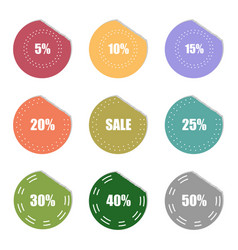sale and percentage tear sticker label set vector image