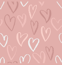 seamless heart pattern ink grunge background vector image