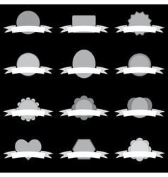 simple white and gray blank banners with ribbons vector image vector image