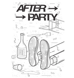 afterparty placard drunk tired guy asleep vector image vector image