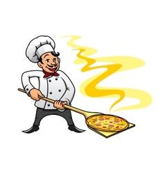 Cartoon baker chef cooking pizza vector image