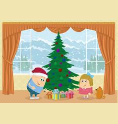 children finding gifts under fir tree vector image
