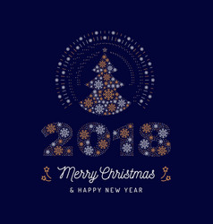 christmas card and new year 2018 poster christmas vector image vector image