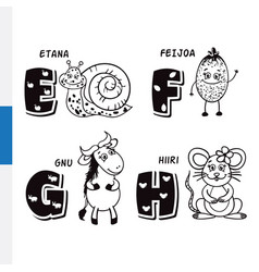 finnish alphabet snail feijoa wildebeest mouse vector image vector image