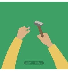 Hands with hammer vector image