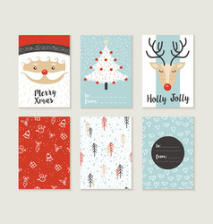Merry christmas card set pattern retro cute santa vector image