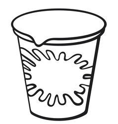 Plastic container for yogurt vector