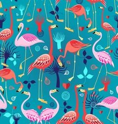 Seamless graphic pattern of flamingos in love vector