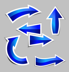 set of blue arrow stickers with shadow vector image