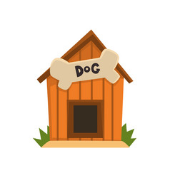 wooden kennel with bone on a vector image vector image